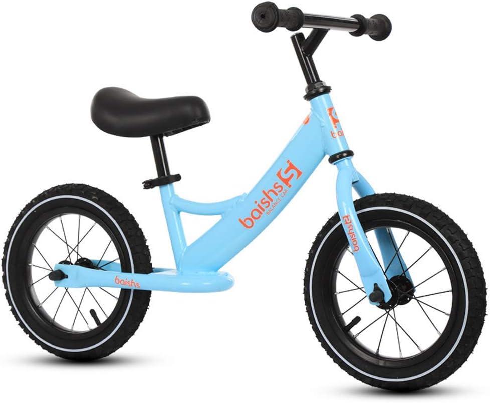 ZLXLX Entrenamiento Balance Car Children 'S 12-Inch Marco de acero al carbono sin pedal Walking Balance Bicicleta 3-6 años Niños, Verde,Azul