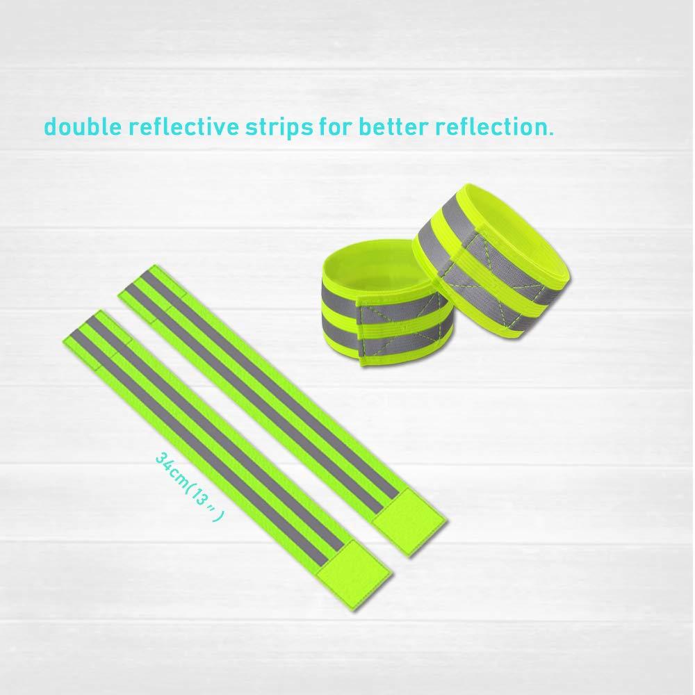 GINGYI Chaleco Reflectante de Alta Visibilidad Ajustable 360 /° Visible 2 brazaletes, 1 Chaleco, 1 Bolsa