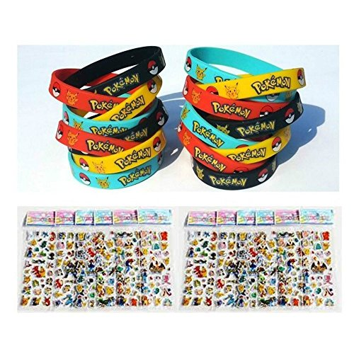[Bundle (16 Count) Pokemon Style Party Supplies Silicone Wristband Bracelet Favors & BONUS (16 Sheets) Pokemon Style] (Pixel Gloves)