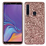Galaxy A9 2018 Case Galaxy A9 Star Pro A9s Case with Screen Protector Glitter Sparkle Bling Shockproof Slim Soft TPU Cute Women Girls Protective Phone Case Cover for Samsung Galaxy A9 2018 (Rose Gold)