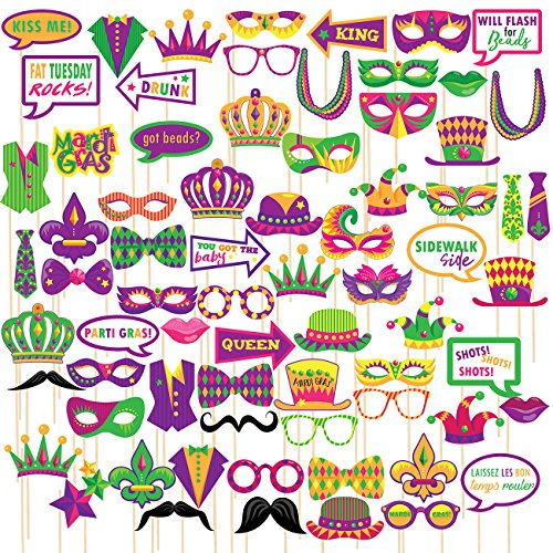 Mask Prop Set (72 Pack Photo Booth Props - Mardi Gras Props Picture Booth Props - Selfie Props New Orleans Party Supplies - Masquerade Photobooth Props - Carnaval, Funny Signs, Masks, Beads, Hats, & More)