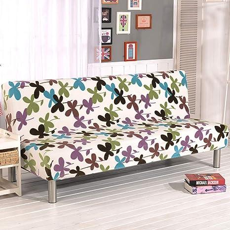 D&LE Sin Brazos Funda de sofá, Poliéster Licra Stretch Protector de sofá Todo Incluido Felpa Se Plegable Sofa Cama Sin Brazos-F 2-4 Plazas 180-210cm