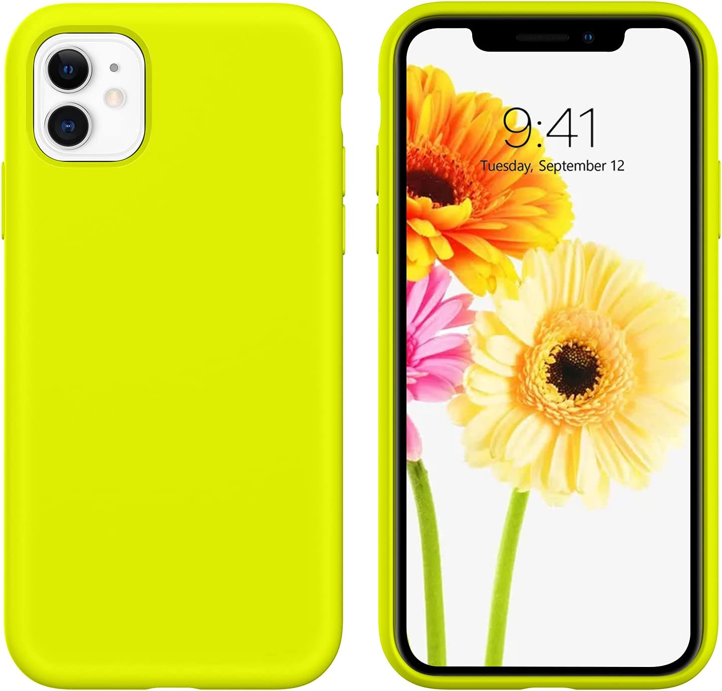 DUEDUE iPhone 11 Case,Liquid Silicone Soft Gel Rubber Slim Cover with Microfiber Cloth Lining Cushion Shockproof Full Protective Anti Scratch Case for iPhone 11 for Women Girls,Fluorescent Yellow