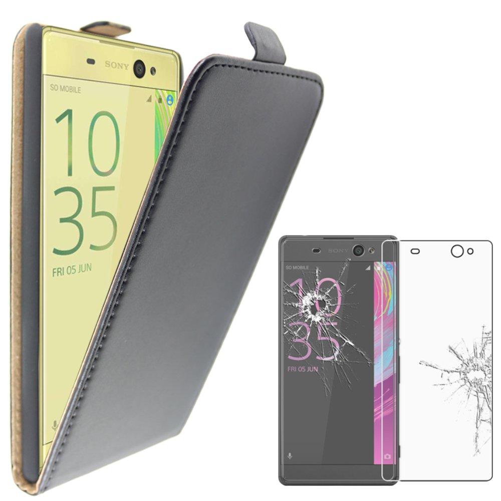 ebestStar - Funda Sony Xperia XA Ultra, XA Ultra Dual Carcasa Abatible PU Cuero, Ultra Slim Case Cover, Negro + Cristal Templado Protector Pantalla ...