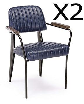 PEGANE - Juego de 2 sillones de Piel sintética, Color Azul ...