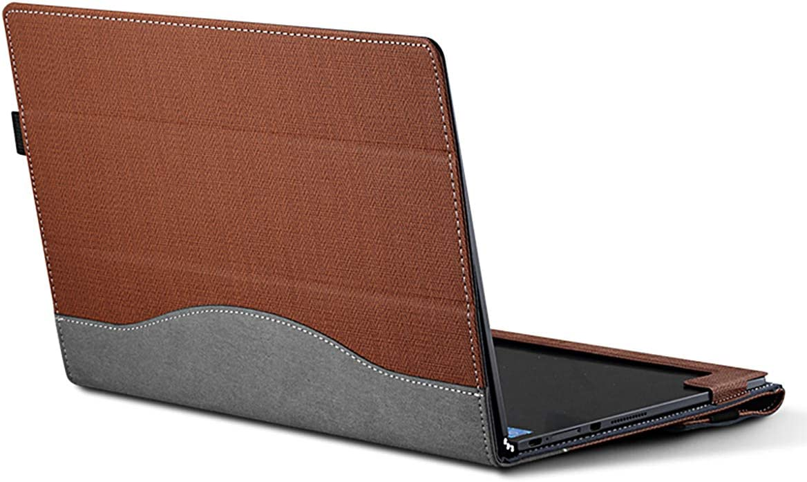 Forubar Laptop Sleeve Cover Case for 10.1 Inch Lenovo Yoga Book 2016 1st,PU Leather Folio Stand Cover, 2 in 1 Chromebook, Notebook Shockproof Case (for Yoga Book 10.1 only, Brown)