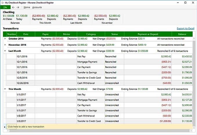 8c9cd71c6f14 Amazon.com  Moneres Checkbook Register 2017 - Track   Reconcile Checkbook    Credit Card Transactions Software  Download   Software