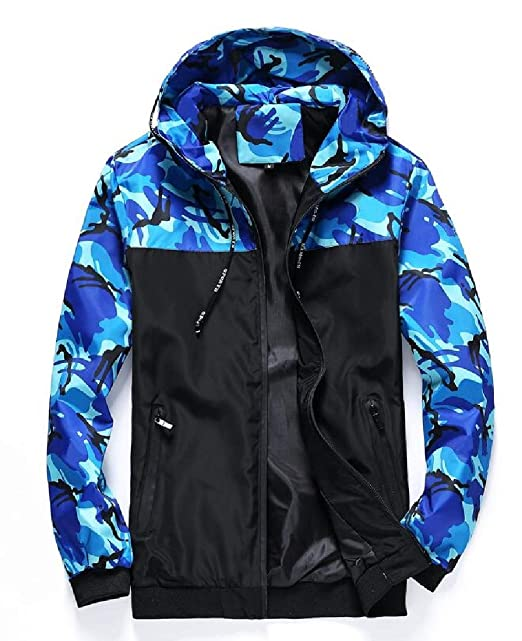 bba601cdc3bf6 WSPLYSPJY Men's Camo Windbreaker Jacket Lightweight Bomber Zip-up Hoodie  Jacket at Amazon Men's Clothing store: