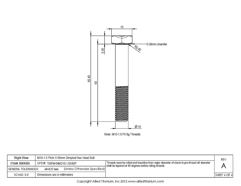 608879001 Ti-6Al-4V Grade 5 M10-1.5 Pitch X 60mm Titanium Hex Head Bolt Pack of 3 Allied Titanium 0004365, Inc