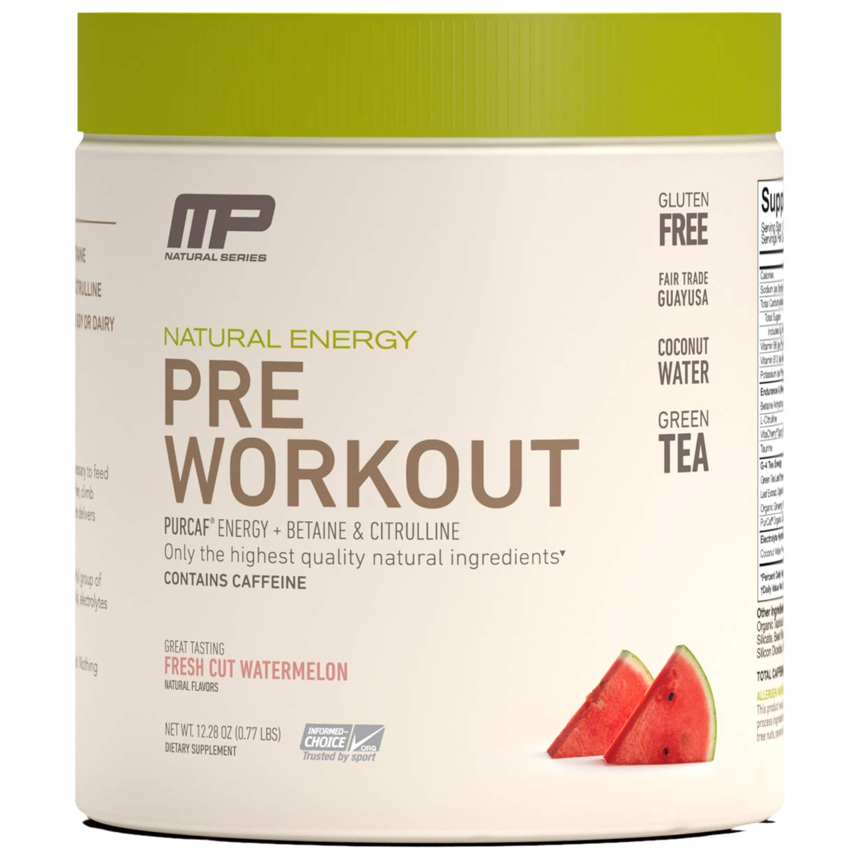 MP All Natural Pre-Workout, Increase Energy, Endurance and Strength - Organic Caffeine, Green Tea, Electrolyte Hydration, Nitric Oxide Booster, Fresh Cut Watermelon, 30 Servings by Muscle Pharm