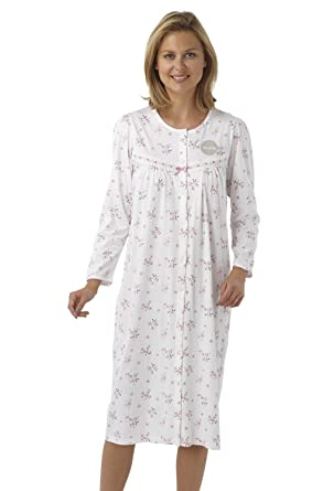 Ladies 100% Cotton Jersey Button\'s down front Nightdress / Dressing ...