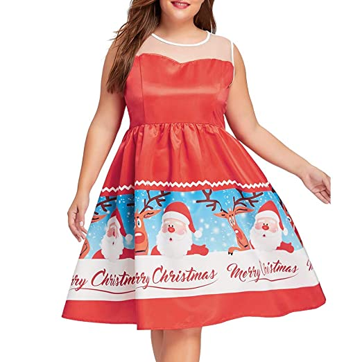 23654c65e59e8 Women Plus Size Christmas Fancy Dress Printed Sleeveless Vintage Ball Gown  Dresses(