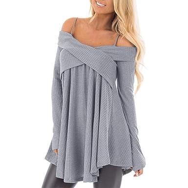 b24ce9fb8fa6 Rambling Women's Spaghetti Strap Off Shoulder Long Sleeve Tops Asymmetrical  Hem Loose Fit T Shirts Blouses at Amazon Women's Clothing store: