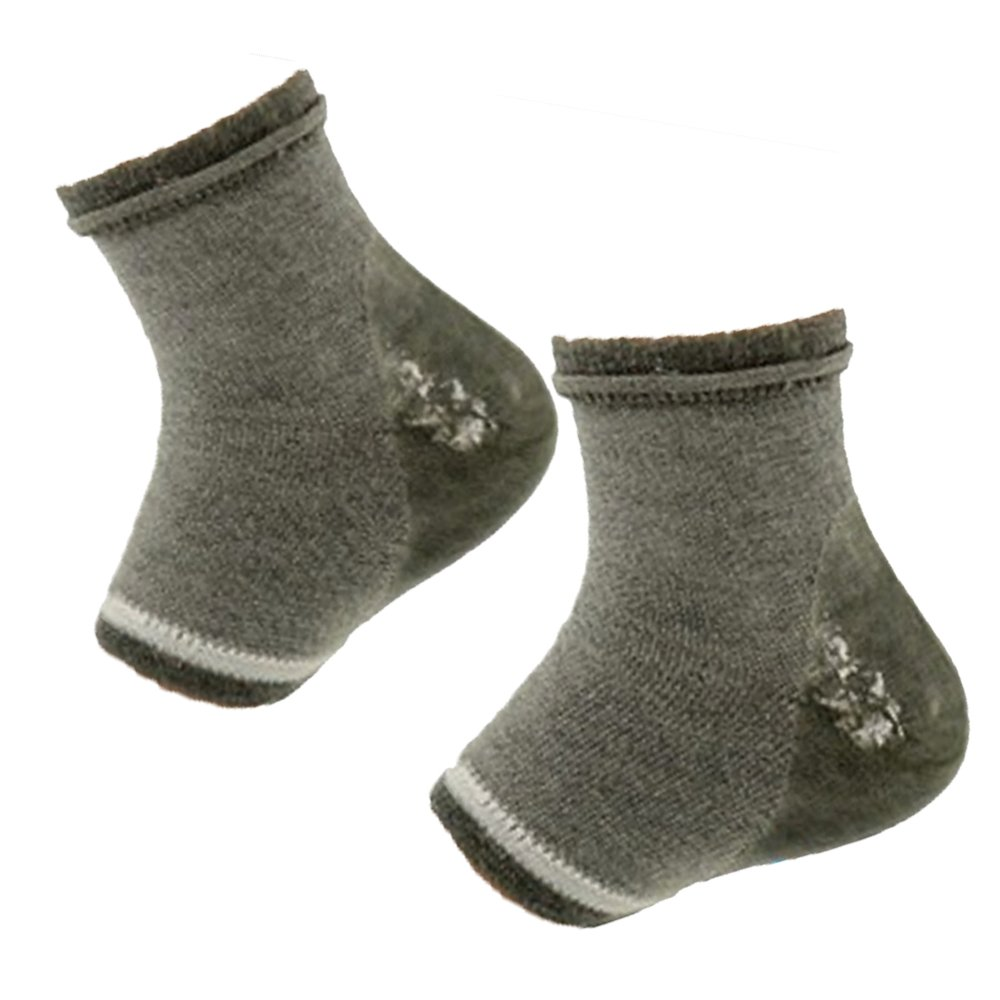 Elisona-1Pair Unisex Gel Heel Socks Spa Moisturizing Heel Skin Night Care Protector with Toe Open Design Gray