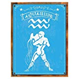 Cheap Wood-Framed Aquarius Metal Sign, The Water Carrier, Astrological Zodiac Sign, Astronomy, … on reclaimed, rustic wood