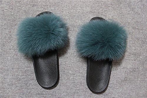 Fox Sole Strap On Toe Women Slippers qmfur Black Slip Green Sandals Open Single Slides Fur Real xEwFHCHqR