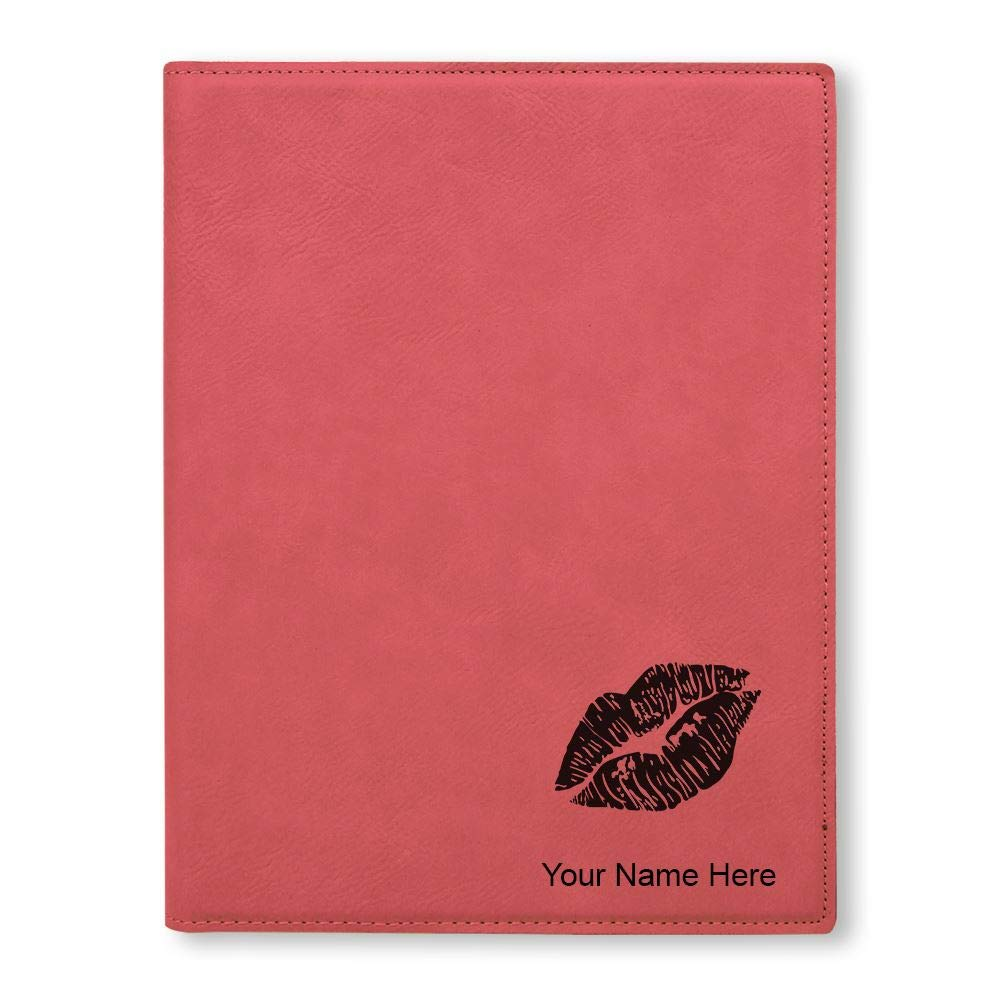 Personalized Engraving Included Teal Small 7 X 9 Portfolio Notepad Lipstick Kiss