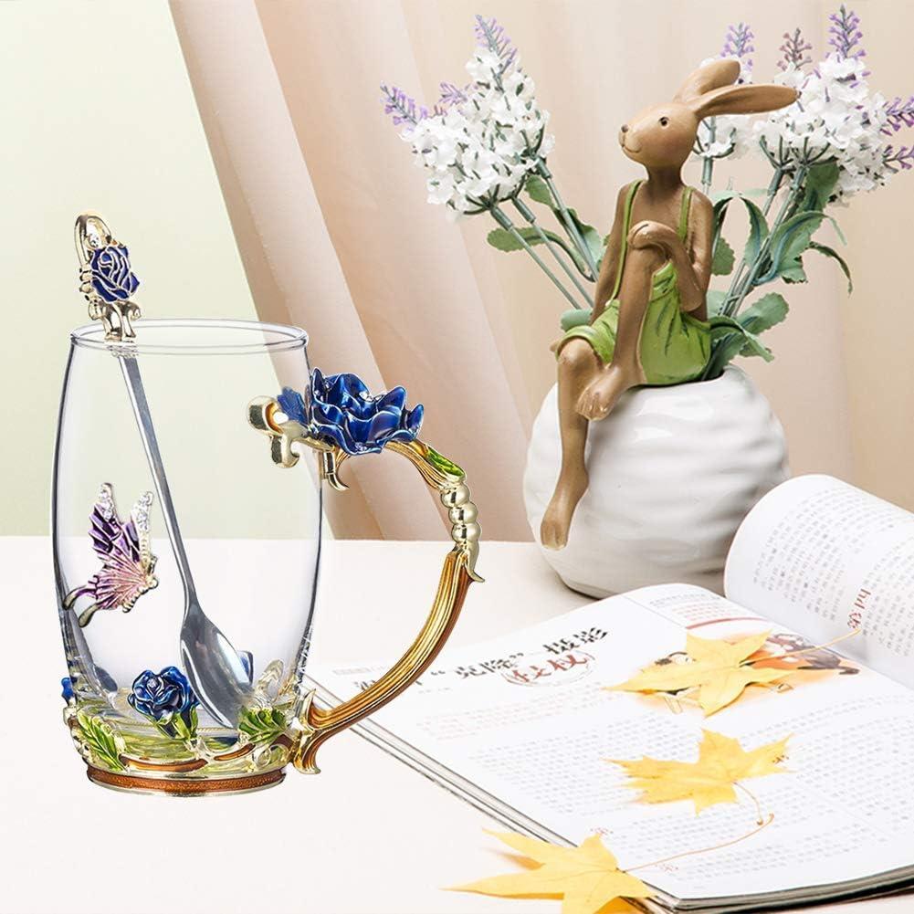 Handicraft Crystal Glass 3D Flower Cups Tea Mug With Tea Spoon Women Coffee, Tea, Juice, Beer, Milk Hot And Cold Drinks Use Gift Package