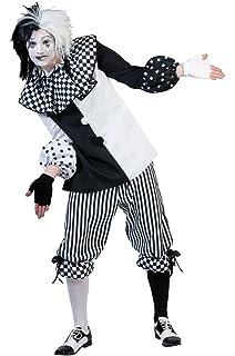 Eurocarnavales Herren Kostum Harlekin Piper Schwarz Weiss Clown