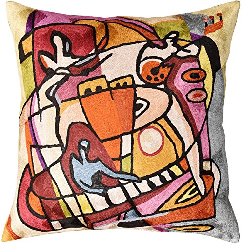 "Kashmir Designs Stroking the Keys by Alfred Gockel Accent Pillow Cover-Handmade Art Silk 18"" x 18"""