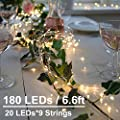 Soltuus 2 Pack 180 LED String Fairy Lights, 8 Modes Battery Operated Starry Copper String Lighting, Waterproof Firefly Moon Watering Can Light for Plants Tree Vines Decorations Party, Warm White