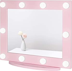 Waneway Hollywood Vanity Mirror with Lights, Large Lighted Makeup Mirror for Dressing Room & Bedroom, Light-up Dressing Table Cosmetic Mirror, Multiple Color Modes, Tabletop or Wall Mount, Pink