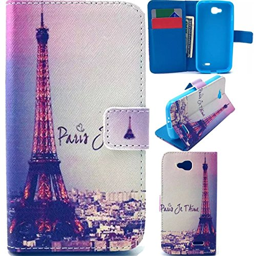 Optimus L90 Flip Wallet Case,Galaxy Avant Case,DANHUA [Paris Tower] Premium Soft TPU Synthetic Wallet Leather Flip Cover Stand Case with Card Slot for LG Optimus L90 (T-Mobile) / D415 (Lg L90 Phone Cover T Mobile)