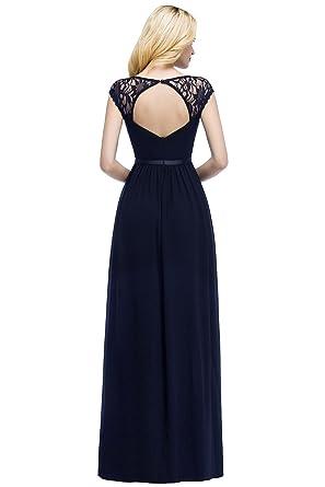 3de2c53df953be Damen Elegant Abendkleid Spitze V-Ausschnitt A-Linie Cocktailkleid  Rückenfrei Maxilang Navy Blau 32