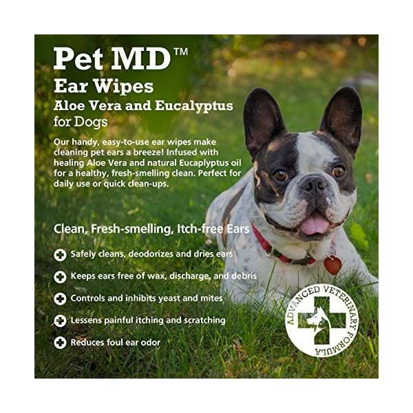 Pet MD - Dog Ear Cleaner Wipes - Otic Cleanser for Dogs to Stop Itching, Yeast and Mites with Aloe and Eucalyptus - 100 Count 2