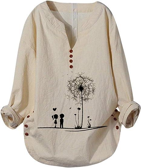 TWEIYI Camiseta Pullover Sudadera Arriba Blusa De Otoño De Talla Grande para Mujer Blusa De Manga