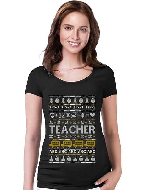 teestars teacher ugly christmas sweater teachers xmas gift maternity shirt small black - Maternity Ugly Christmas Sweater