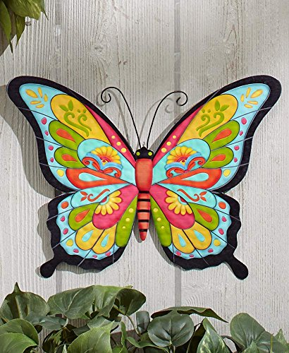 The Lakeside Collection Colorful Metal Garden Wall Hanging- Butterfly Butterfly Metal Garden