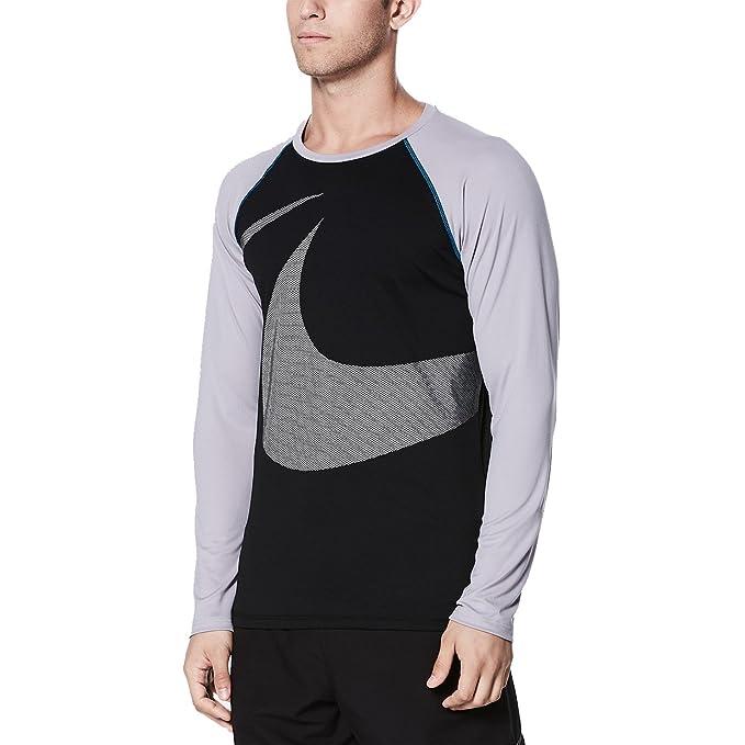 e66f3972 Nike NESS8554 Men's Macro Swoosh Long Sleeve Hydroguard, Black - X-Large