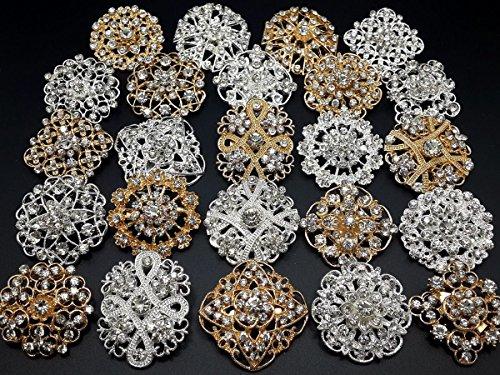 Mutian Fashion Lot 24pc Clear Rhinestone Crystal Flower Brooches Pins Set DIY Wedding Bouquet Broaches Kit by Mutian Fashion (Image #1)