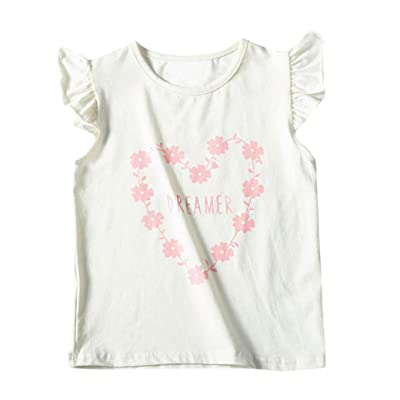 8865bb6898629f Fineser Baby Girls Floral Print Ruffles Sleeveles T-Shirt Tops Summer  Infant Toddler Casual Tee