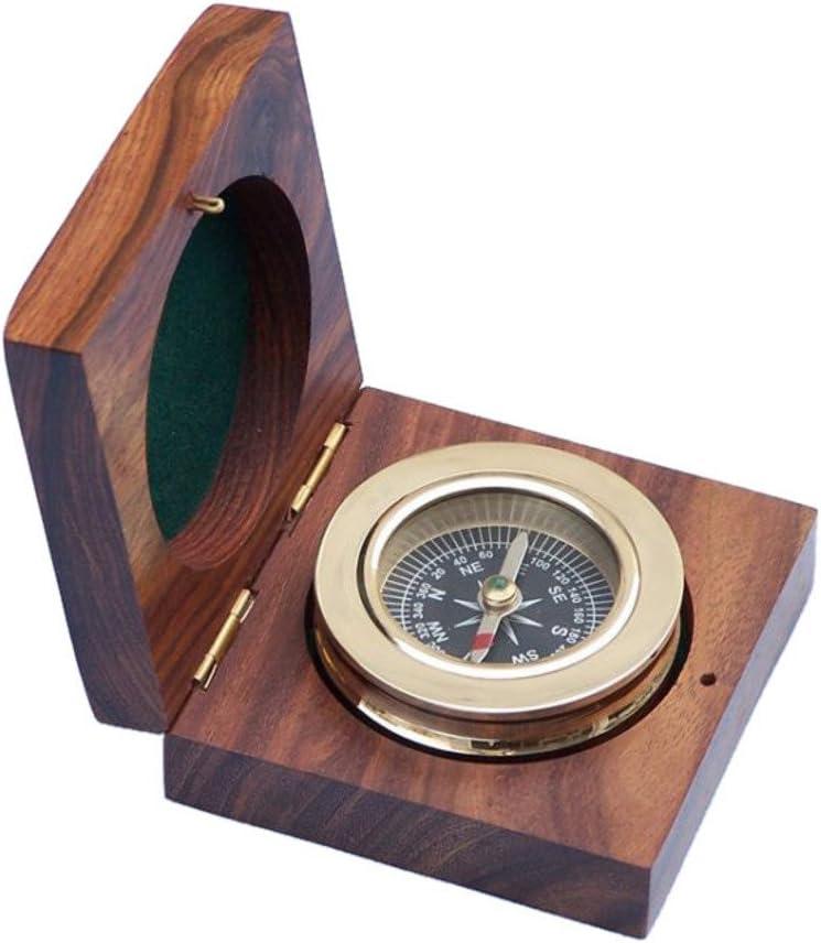 Hampton Nautical 3xglass-101 Brass Paperweight Compass w/Rosewood Box 3