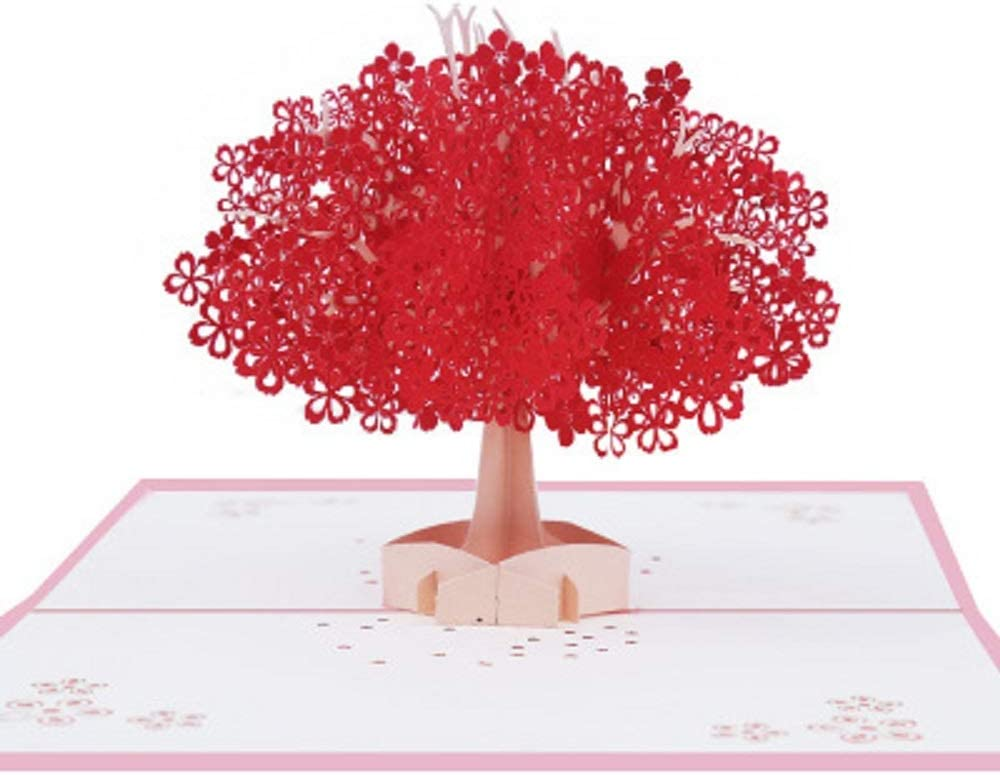 JIN CAN 3D Stereo Card Handmade Romantic Cherry Peanut Day Card Wedding Invitation Card Anniversary Friendship Gift Card Valentines Day Blessing and Thank You Card(Red Lovers)