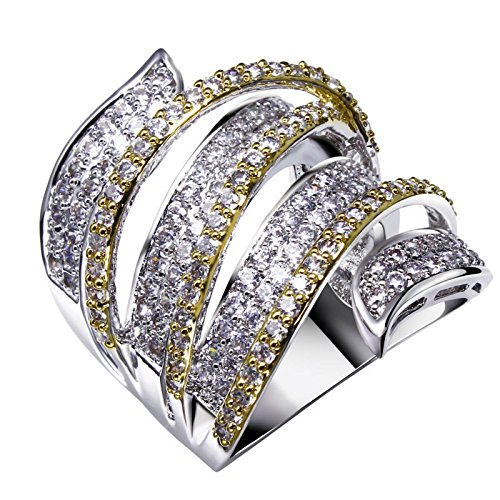 GDSTAR rings for women BohemiaCZ Rings 2 Tone 18K Gold Plated 163 pcs Quality Cubic Zirconia Setting Bridal Wedding Jewelry Lead 10.0 (Tone Ring Tiffany Two)