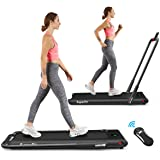 Goplus 2 in 1 Folding Treadmill, 2.25HP Under Desk Electric Superfit Treadmill, Installation-Free with APP Control, Remote Co