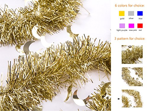iPEGTOP 3 Pcs x 6.6 Ft Christmas Tinsel Garland, Sparkle Holiday Party Ceiling Tree Decorations Star Moon Hanging Ornaments, Gold (Tinsel Christmas Decorations)