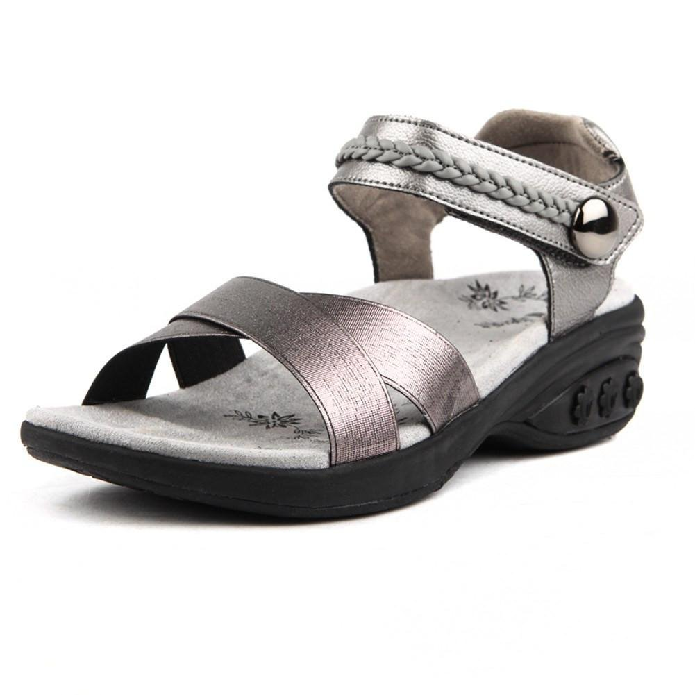 Therafit Rose Women's Leather Adjustable Strap Wedge Sandal - Pewter, Size 9 - for Plantar Fasciitis/Foot Pain