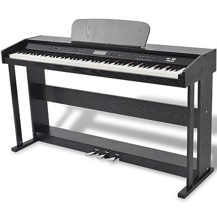 Festnight Piano Digital DE 88 Teclas con Pedales - Color de Negro Material de Tablero Melamina