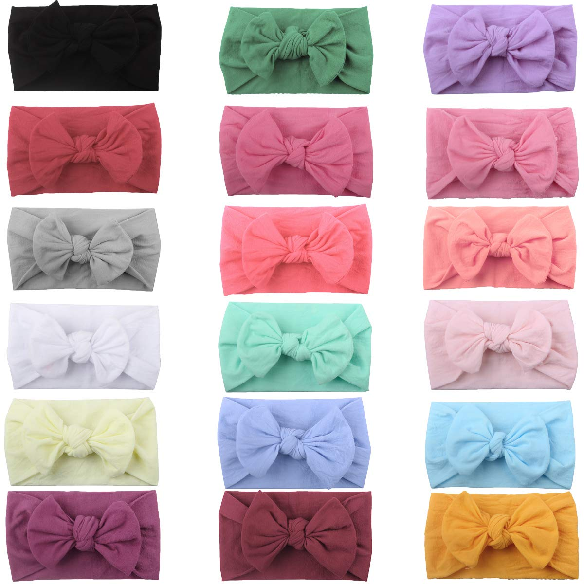 DeD 18 Pieces Nylon Newborn Headbands Hair Bows Elastics Soft Bands for Newborns Infants Toddlers