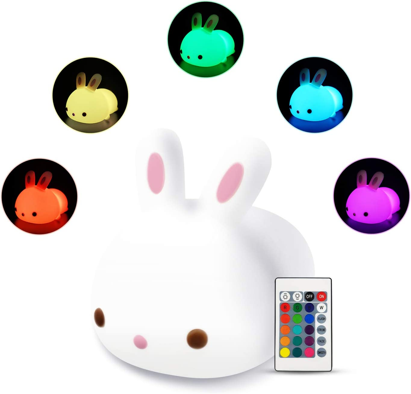 Cute Squishy Bunny Night Light - Silicon Rabbit Bunnies Pets Nursery Color Changing LED Decor Sleep Lamp Lights with Touch Sensor and Remote Control for Kids, Childrens, Toddler, Baby, and Girls
