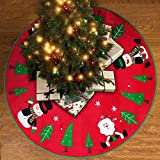 UNOMOR Christmas Tree Skirt with Reindeer, Snowman, Christmas Tree and Snow Flakes for Christmas Decoration Red, 42 inch