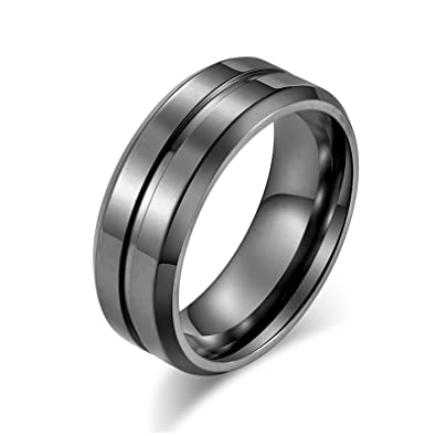 Bishilin Stainless Steel Rings for Men High Polished Round ...