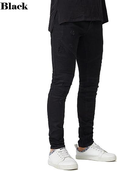 Amazon Com Pantalones De Vestir Cuadrados Para Hombre Con Ribete Biker Skinny Jeans Stretch Elastico A La Moda Lapiz Vaqueros Moderno 30 Negro Clothing