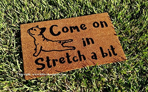Come On In Stretch a Bit Yoga French Bulldog, Size Large - Welcome Mat - Doormat - Custom Hand Painted Doormat by Killer Doormats