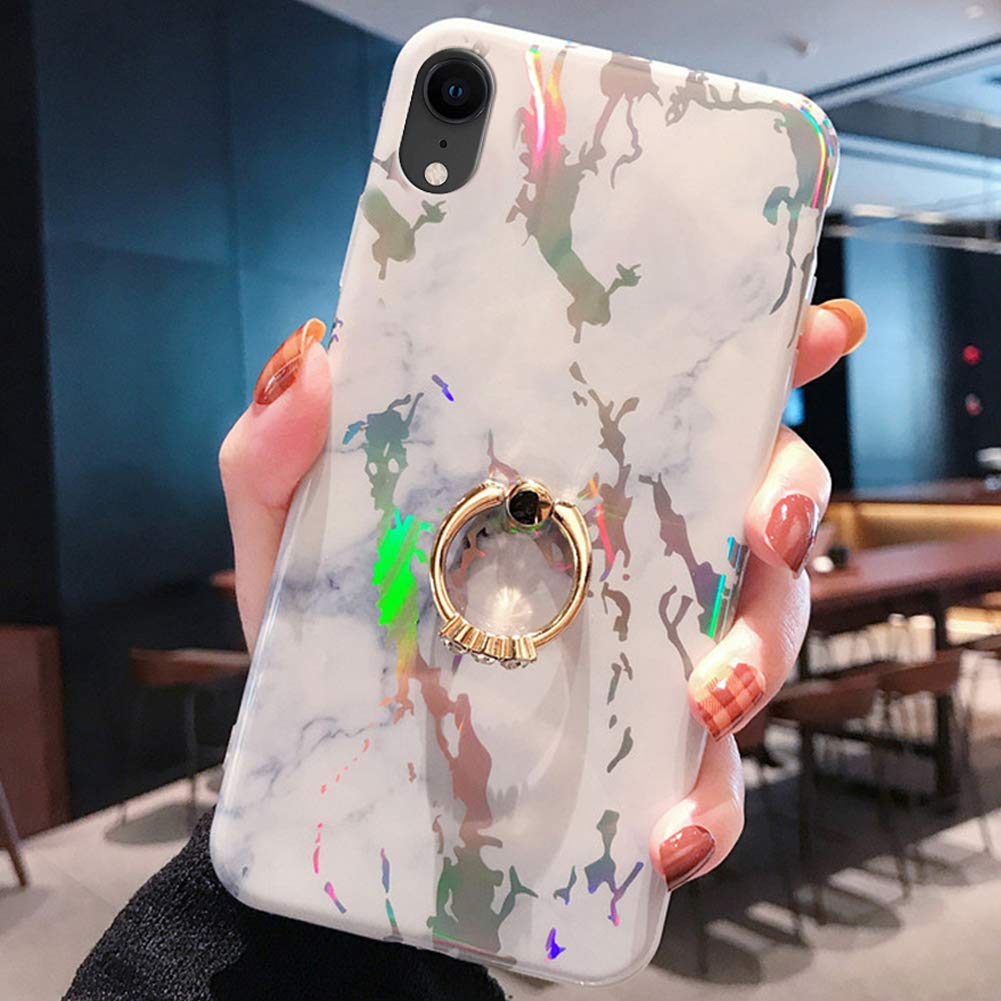 Marble Case for iPhone XR Cover,Girls and Women Diamond Ring Stand Bling Sparkle Laser Aurora Color Marble Design Flexible Soft Rubber Gel TPU Case Cover for iPhone XR Silicone Case,White by ikasus