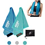 """FIILINE Cooling Towel Sports Travel Soft Yoga Ice Towels 2 Pack 40""""x 12"""" - Quick Dry Lightweight Instant Cold Towels for Running, Biking, Gym, Fitness Outdoor and More"""